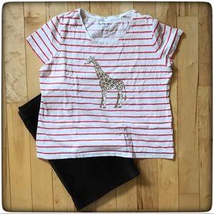 🛍🦒 Giraffe/stripe graphic tee, Croft & Barrow